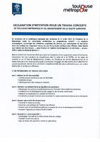 Déclaration d'intention Toulouse Métropole - CD31